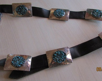 Handmade Nickel Silver Concho Belt with Turquoise Nuggets