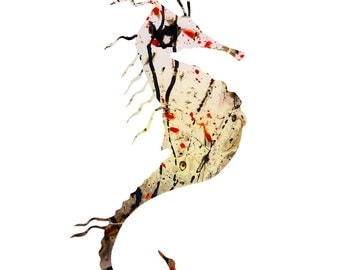 Brave Seahorse / Oliver the Seahorse, Bright Seahorse Art, Seahorse Print, Whimsical Seahorse