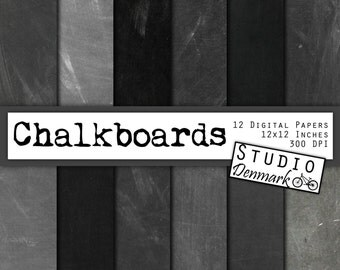 Chalkboard Digital Paper - Real Chalkboard Background - 12 High Res Authentic Blackboard Images - 12in x 12in - Instant Download