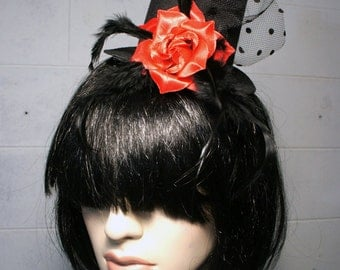 Victorian Black Mini Top Hat w/ Red Rose Flower + Polka Dot Mesh and Feather Accents, Floral Hair Clip Facinator