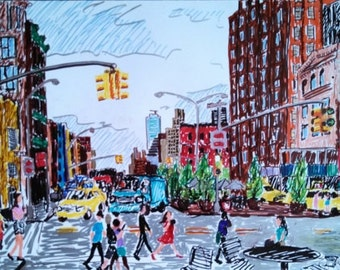New York City, Drawing, NYC, Manhattan, Crosswalk, colorful, people,  9th Ave and 14th Street, markers, 12 by 18 inches, July, 2013.
