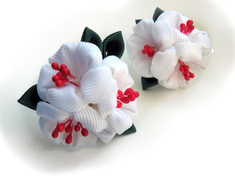 White Blossom Hair Flowers White Red Flower Hair Girls Hair