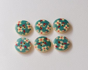 Blue wooden buttons