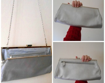 Contemporary Silver Clutch Evening Bag with Scroll Chain by Gunne Sax