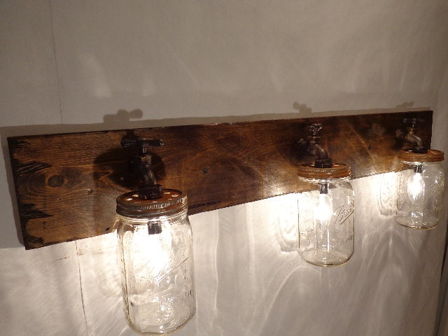 Bathroom Vanity Mason Jar Light handmade rustic mason jar vanity wall light
