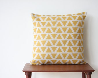 """22"""" x 22"""" Decorative Pillow Cover Geometric Pattern Yellow Triangles Cushion Cover Throw Cushion Cover"""