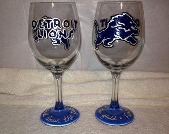 Detroit Lions Wine Glass