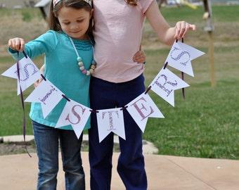 Purple Sisters Banner, Sisters Banner, Banner/Bunting/Garland, Photo Prop