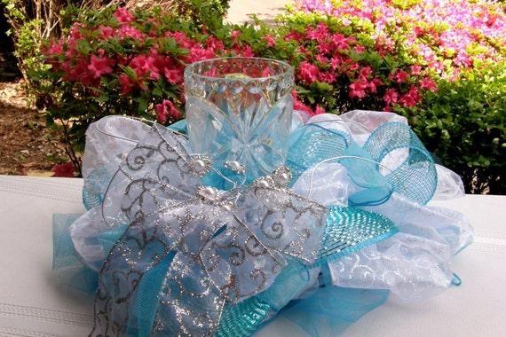 Items similar to turquoise wedding centerpiece