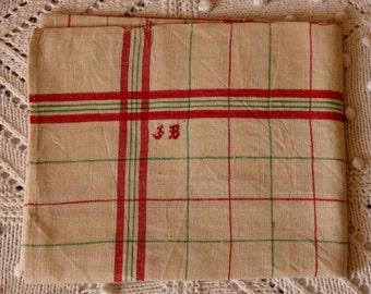 CLOTH old linen monogrammed