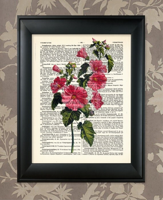 Flower Illustration Pink Upcycled Antique Dictionary Art