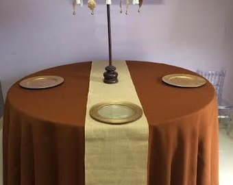 """Ten Burlap Table Runner 13"""" x 90"""" with finished edges.  Ideal for weddings, parties and home decor."""
