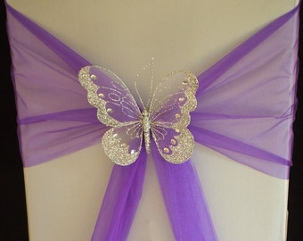 12 Large butterfly with clips decorations Wedding  chairs, venue ,home. chair sash decoration