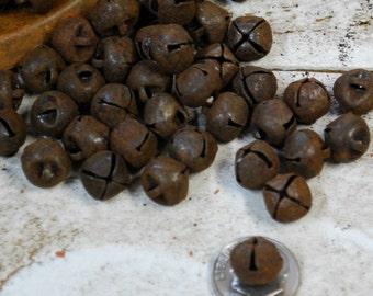 """10mm Rusty Tin Jingle Bells - pkg of 48 --- Primitive bells 3/8"""""""