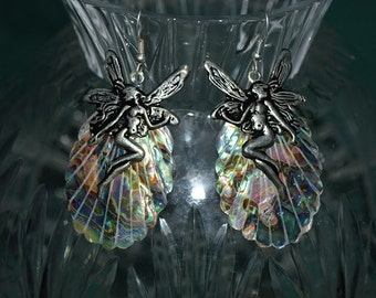Beautiful Vintage Abalone shell  Earrings with antique silver Fairies (1017101)