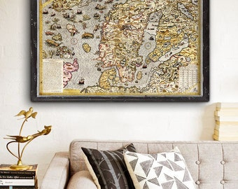 "Map of Scandinavia 1572, Bizarre old Scandinavia map, 5 sizes up to 54x36"" (140x90 cm) map with sea monsters - Limited Edition of 100"