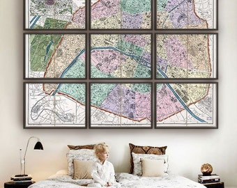 "Vintage Paris map 1878, XL map of Paris, France, 4 sizes up to 84x60"" (210x150 cm) in 1 or 9 parts Paris, France - Limited Edition of 100"