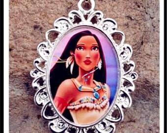 Disney Princess Pocahontas Necklace Pendant Cabochon for Chunky Bubblegum necklaces Pocahontas pendant