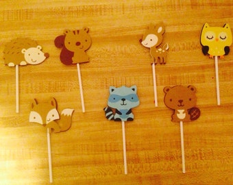 Set of 12 Woodland Animal Cupcake Toppers
