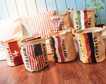 Linen Storage Basket, Recycle Laundry Basket, Country Flag Basket, Vintage Flag Bin, Tall