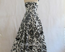 HOT White Black Flower Prints Prom Dress,Classic Evening Prom Dress,Women Girl Strapless Elegant Party Dress,Host Evening Tunic Gowns