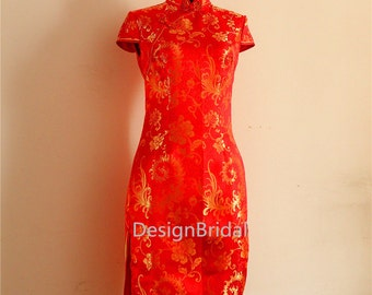 Vintage Phoenix Dress with Side Slits,Short Chinese Qipao,Red Weddding Dress,Traditional Chinese Cheongsam/Chipao,Elegant Chinese Dress