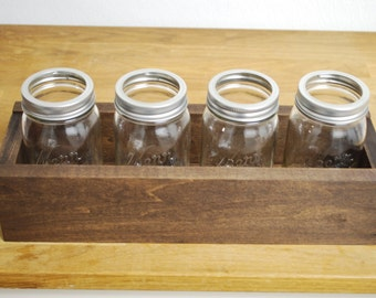 Herb Planter Window Box or Centerpiece with (4) Four Mason Jar Planters