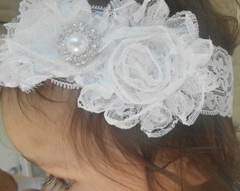 Off White Lace Shabby Flowers Baby Headband, Newborn Headband,  Infant Headband,Baby Headband, Headband Baby
