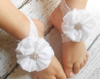 White flower Baby Barefoot Sandals ,Chiffon Flowers , Toddler Sandals ,Newborn Sandals ,Baby Flower Sandals
