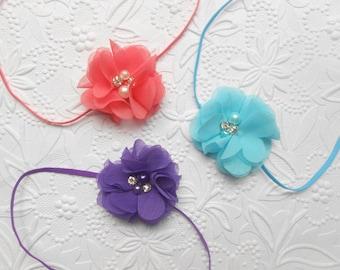 Chiffon flower Baby Headband, more color to choose ,1/8  inch skinny elastic, ,  Infant Headband,Baby Headband, Headband Baby, Baby Headband
