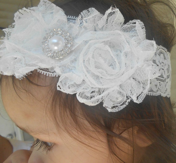 Off White Lace Shabby Flowers Baby Headband, Newborn Headband,  Infant Headband,Baby Headband, Headband Baby
