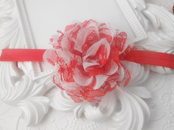 Red/ White  Frayed Lace,Chiffon flower Baby Headband, Newborn Headband,  Infant Headband,Baby Headband, Headband Baby, Baby Headband