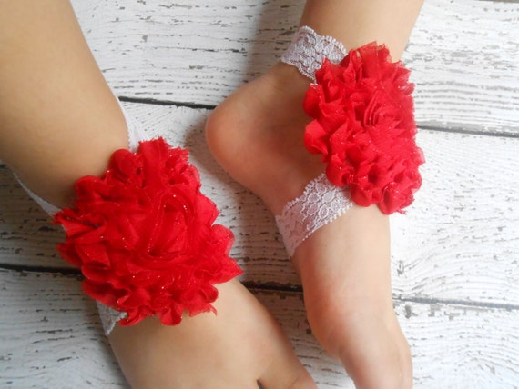 Red Flower  Baby Barefoot Sandals ,Shabby Flowers with Elastic , Toddler Sandals ,Newborn Sandals ,Baby Flower Sandals