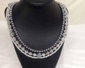 Pearl Bead and Crystal Multi-strand Necklace