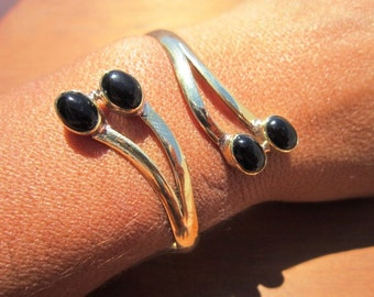 Bohemian Bangle Bracelet Gold Brass Onyx dual gemstone - Adjustable Bangle cuff