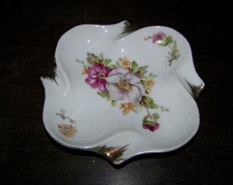 Vintage Porcelain Floral Hand Painted Ashtray Gold Trim