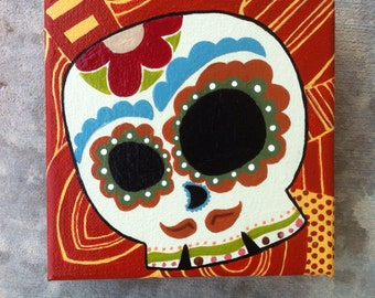 Day of the Dead painting, OOAK, skull, skeleton, calavera, catrina, canvas