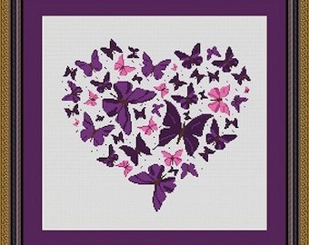 BUTTERFLY HEART/coeur papillons -Counted cross stitch pattern /grille point de croix ,Cross Stitch PDF, Instant download , free shipping
