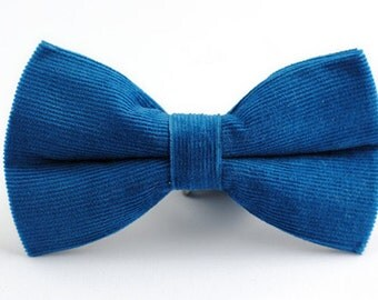 Corduroy Bow Tie.Mens Bow Tie.Wedding Bow Tie.Lake Blue Bow Tie with White Dots