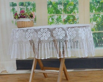 """ON SALES ~ 61"""" inches round table cover white, 100% Handmade tablecloths sales, crocheted table topper for home decor ~ nice gift for Mom"""