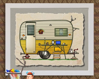 Aloha Canned Ham camper art Cute whimsical happy camper and travel trailer prints add fun to trailer or RV as 8x10 & 13x19 wall decor
