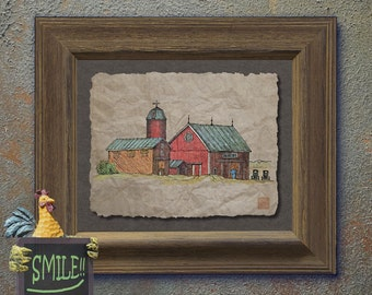 Nostalgic Amish buggies red barn art Cute yesteryear barn art adds country roads art wall decor as 8x10 or 13x19 rural landscape print