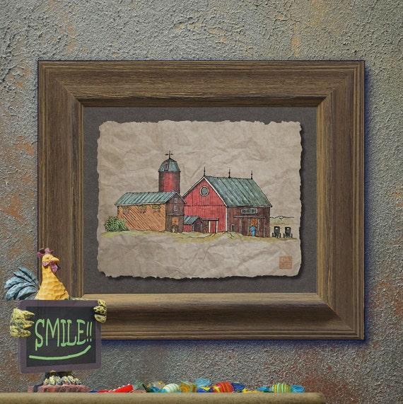 Nostalgic Amish Buggies Red Barn Art Cute Yesteryear Barn Art