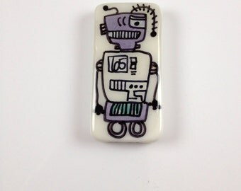 Peacebot #66  Hand Painted   Robot  Peace Charm  Robot Jewelry   Robot  Robot Key  Chain