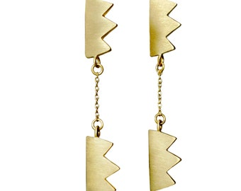 Gold Plated Sterling Silver Drop Earrings - Double Zig Zag Earrings - Satin Finish Earrings