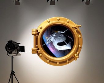 Space Ship Wall Decal Full ColourBrass Gold Porthole Wall Sticker Spaceship Astronaut