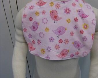 Reversible Baby bib with pink birds/flowers design