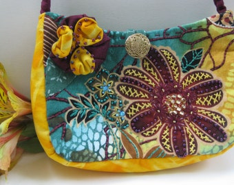 Handmade Embroidered and Beaded Purse #24