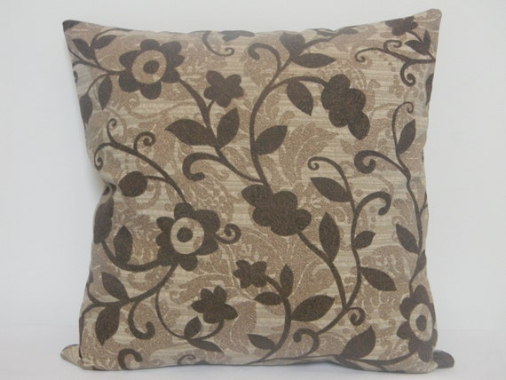 Brown Floral Throw Pillow : SALE ITEM. Brown and Beige Floral Decorative throw pillow