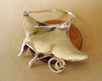 Sterling Silver Manta Ray Charm or Pendant